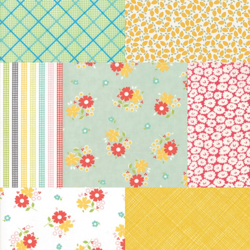 Fat quarter bundle of 7 fabrics coordinating with Flower Mill image 0