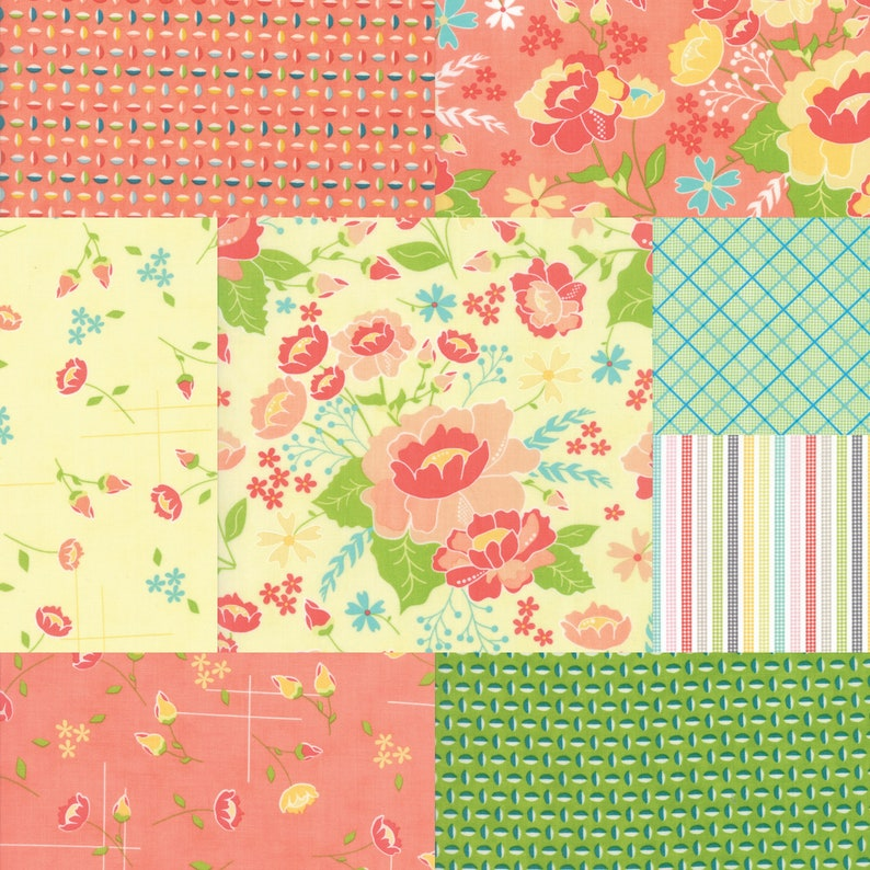 Fat quarter bundle of 8 fabrics coordinating with the Lulu image 0
