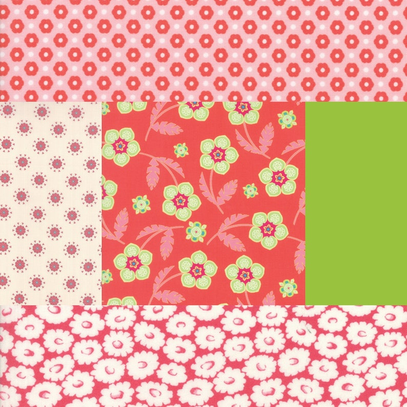 Fat quarter bundle of 5 green and red fabrics coordinating image 0
