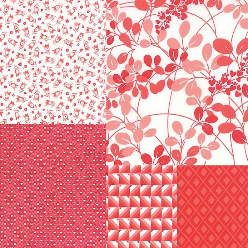 Fat quarter bundle of 5 red coordinating fabrics image 0