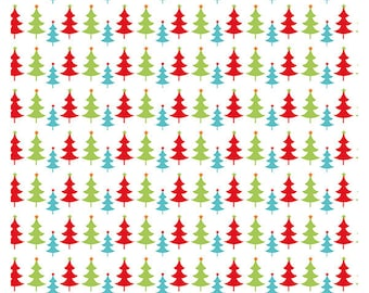 Christmas Tree fabric in Red, Lime and Aqua