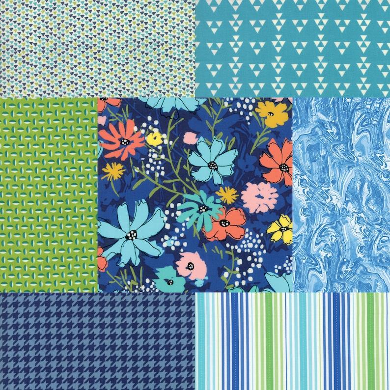 Fat quarter bundle of 7 navy aqua and green fabrics image 0