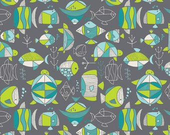 Fishies fabric in Gray from the Sea Life Collection