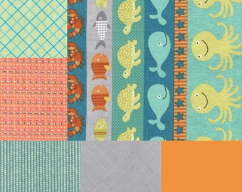 Fat quarter bundle of 6 fabrics coordinating with Sea Creatures Stripe from the Splish Splash Collection by Gail Cadden-Timeless Treasures