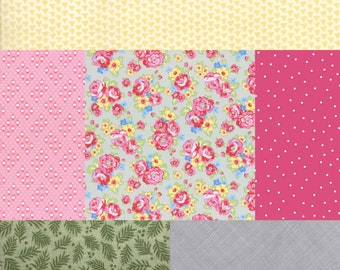 6 fat quarter bundle of fabrics coordinating with Retro 30's Child Smile Floral Bouquet fabric by Lecien Fabric-Gray,Pink,Green and Yellow