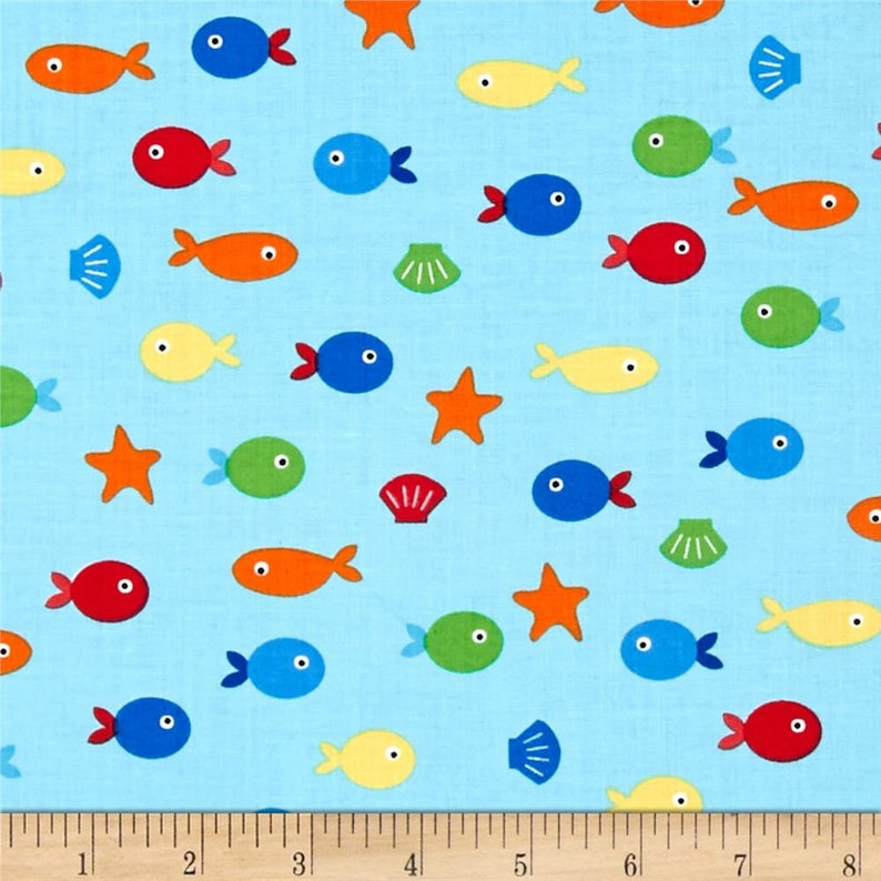 Sea and Sun Pacific Fish fabric by Ann Kelle for Robert image 0