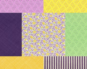 7 Fat Quarter Bundle of Purple, Yellow, Green fabrics coordinating with Retro 30's Child Smile Tiny Floral Bouquets fabric by Lecien Fabrics