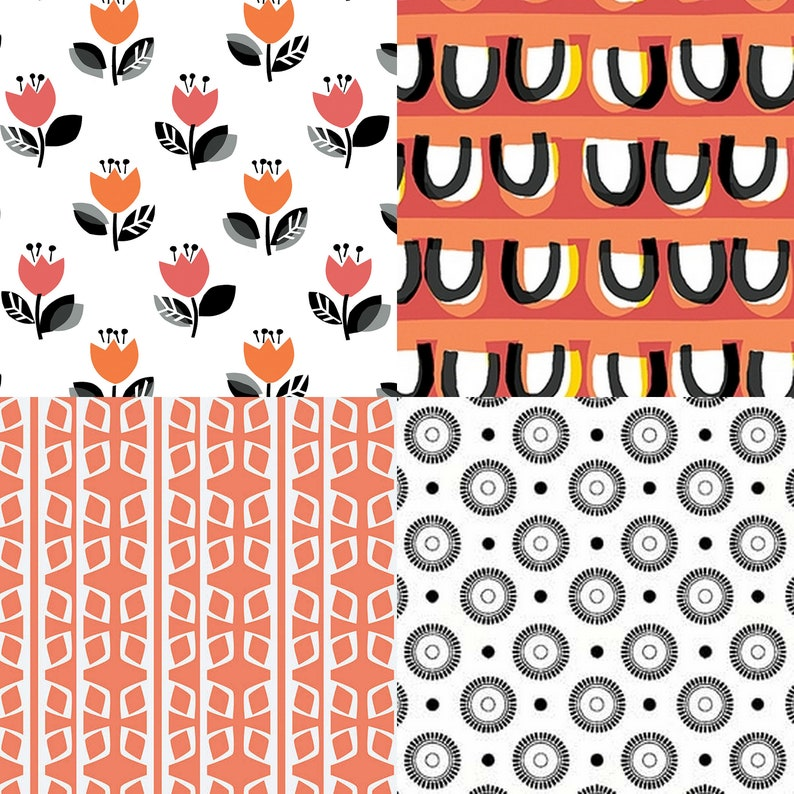 Fat quarter bundle of 4 coral gray and black fabrics that image 0