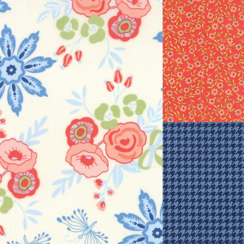 3 yard bundle of coral and blue fabric coordinating with image 0