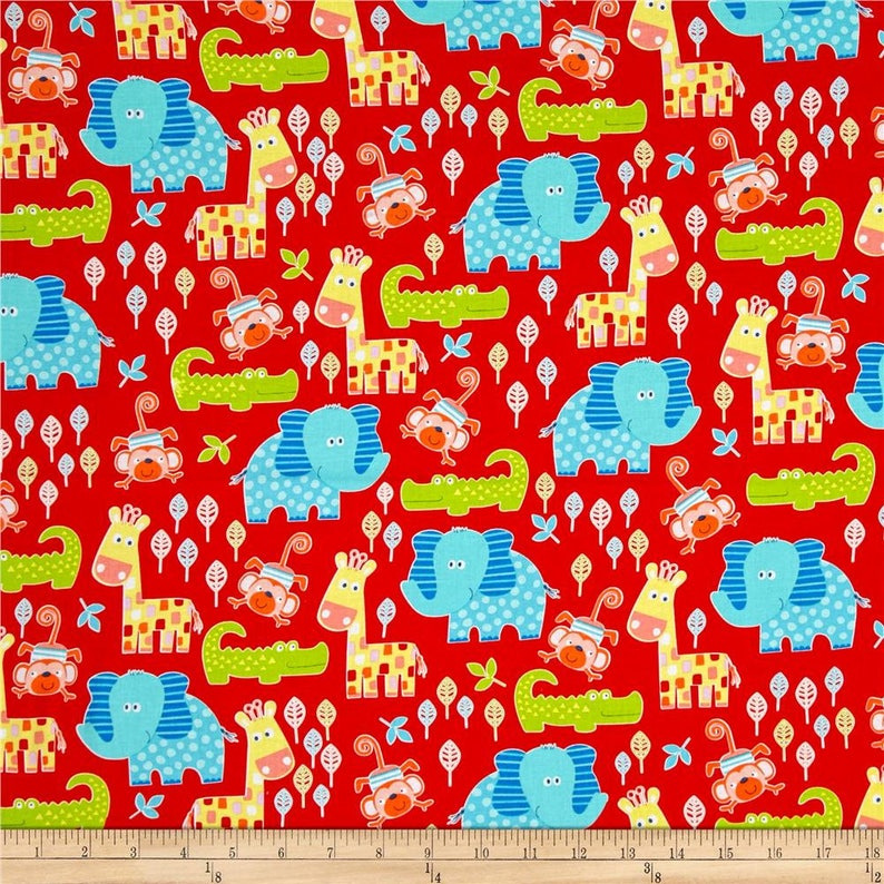 Swingin' Safari Animal Allover Red Fabric by Diane Eichler image 0