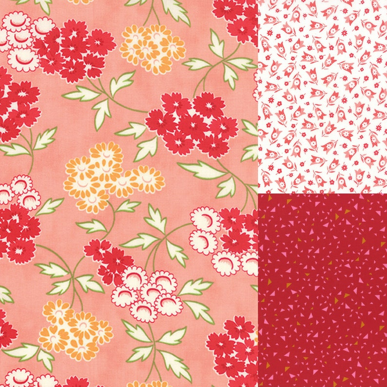 3 yard bundle of pink and red coordinating fabric image 0