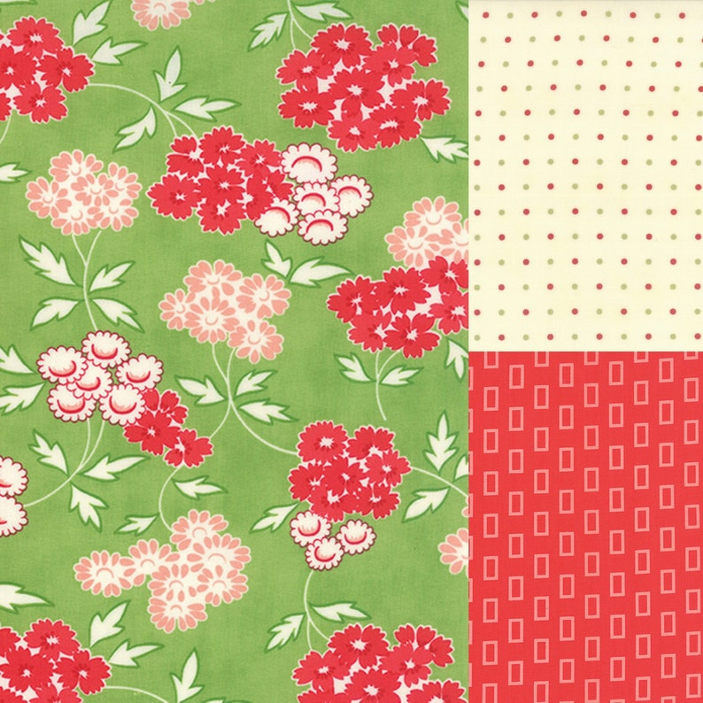 3 yard bundle of green and red coordinating fabric image 0