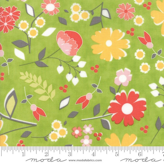 Flower Mill Bloomy Sprig Green fabric by Corey Yoder for Moda Fabrics  #29030-18