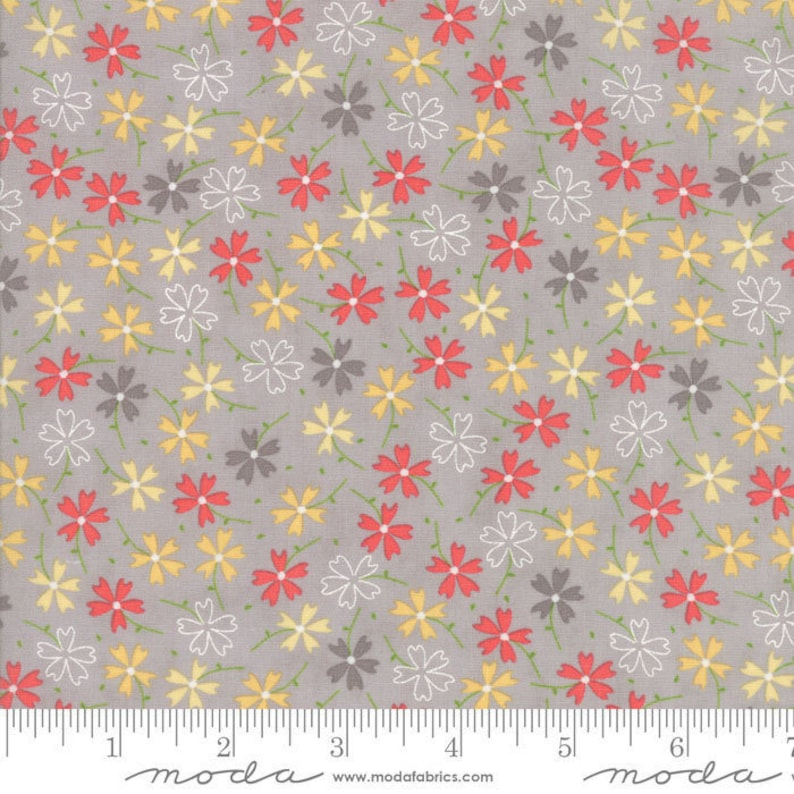 Lulu Lane Pansies fabric in Gray by Corey Yoder for Moda image 0