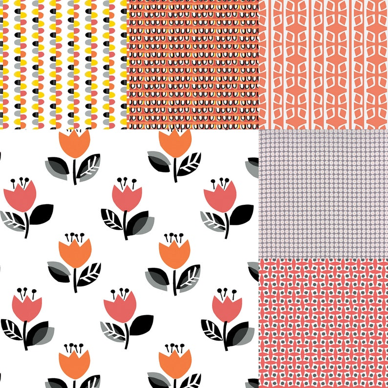 Fat quarter bundle of 6 coral gray and black fabrics that image 0