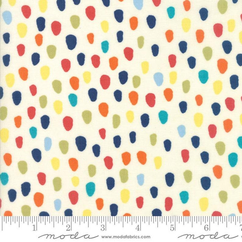 Hello World Specks fabric in Cream by Abi Hall for Moda Fabric image 0