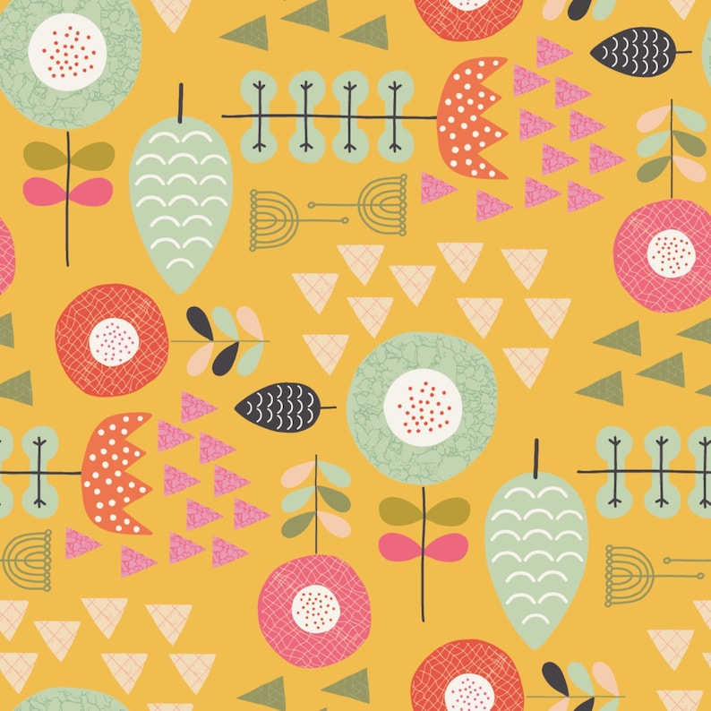 Windsor Garden Amelia fabric in Yellow by Kelly Parker Smith image 0