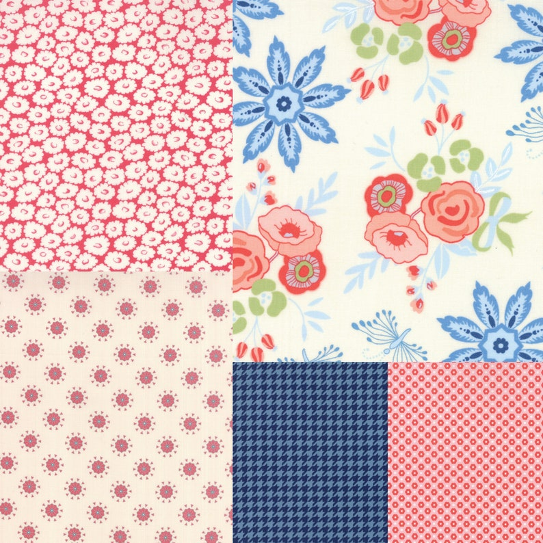 5 fat quarter bundle of red and blue fabric coordinating with image 0