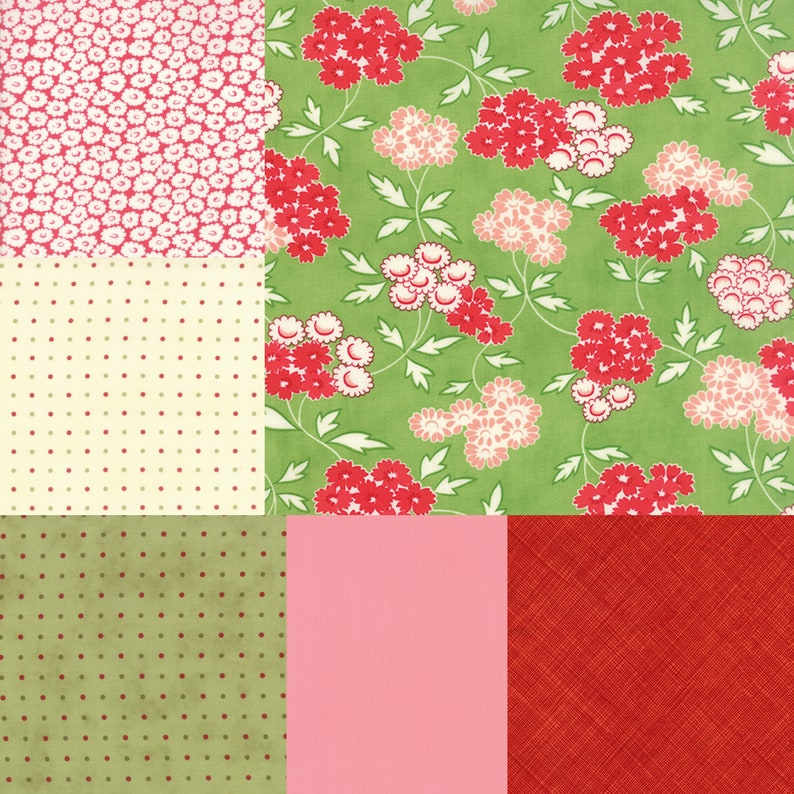 Fat quarter bundle of 6 green and red fabrics coordinating image 0