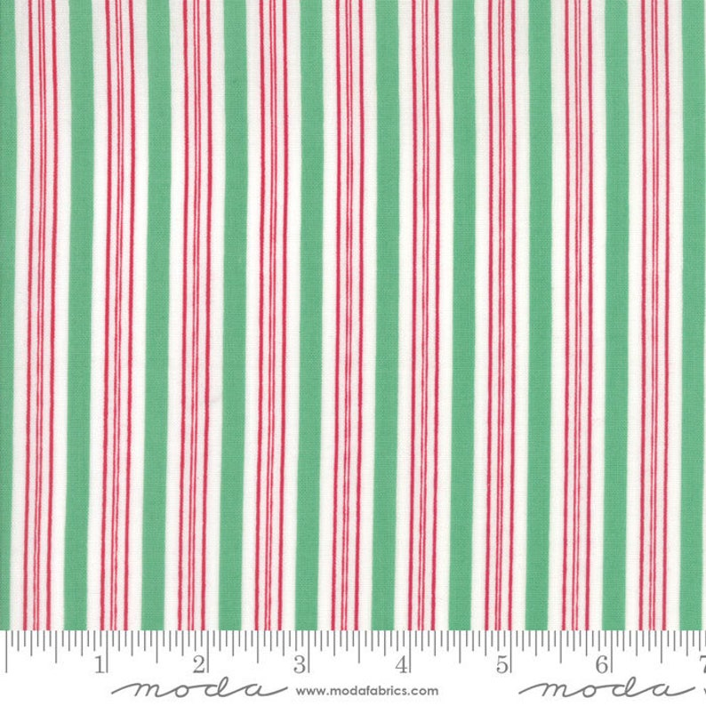 Sugar Plum Christmas Candy Cane Stripe Green fabric by Bunny image 0