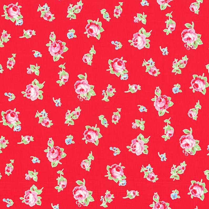 Flower Sugar Red Rose Toss fabric from Lecien image 0
