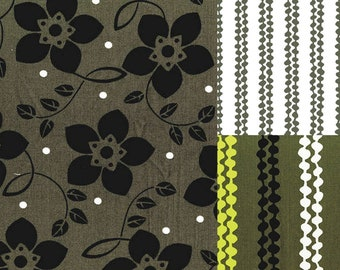 3 fat quarter bundle-3 fat quarters of olive, lime and black fabric from the Brigitte fabric line by Michelle D'Amore Designs for Benartex