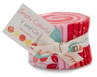 Simply Colorful fabric Junior Jelly Roll in Red by V and Co. for Moda Fabrics