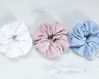 Ponytail holder Hair scrunchie Linen hair scrunchies Variety of colors Blue scrunchie White scrunchie Pink scrunchie