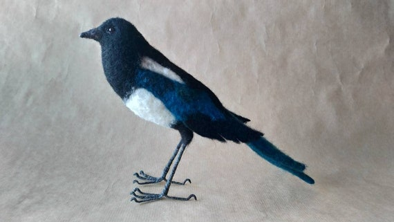 Needle felted black billed magpie