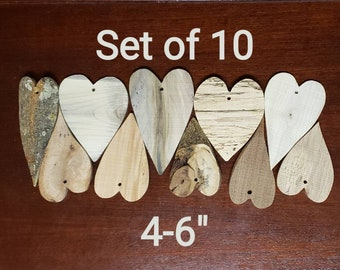 Wood Heart ornaments-Set of 10 anniversary wedding christening birthday holiday event keepsake   rustic carved log gift favors assortment