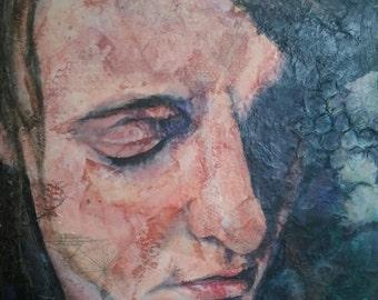 Original art portrait woman watercolor collage encaustic