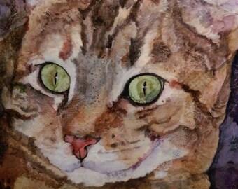 Original cat art mixed media collage watercolor encaustic