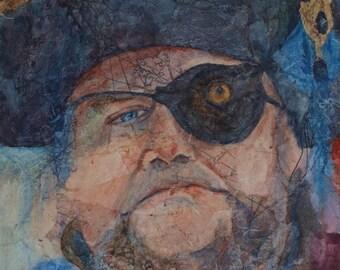 Original portrait pirate man watercolor collage paper