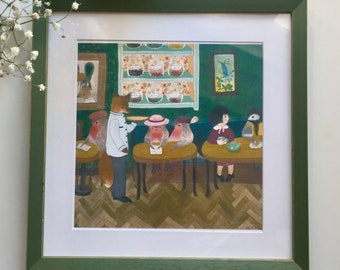 illustration print, art print, children illustration print, girl and bird painting print, stampa digitale illustrazione
