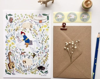 Letter paper set, letter writing set, with watercolour illustration of horse, horse and botanical, fairytale stationery