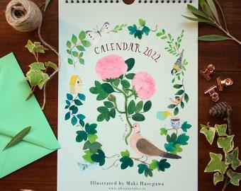 Wall calendar 2022, illustration wall calendar, flowers calendar, rose calendar, animals calendar, calendario 2022, art calendar