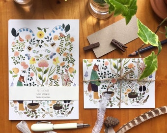 Letter paper set, letter writing set, with watercolour illustration of rabbit and fox, animals stationery, floral letter set