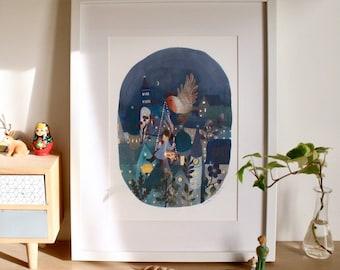 illustration print, art print, night landscape illustration print, girl and bird painting print, stampa digitale illustrazione