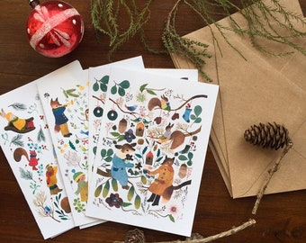 Greeting card set, note card set, stationery set, holiday cards set, christmas card set, christmas stationery, xmas greeting cards