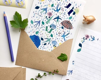 Letter paper set, letter writing set, with watercolour illustration of birds, flowers, raindrops, umbrella, レターセット,イラスト,便箋