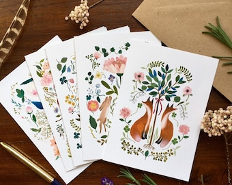 Greeting card set, note card set, stationery set, snailmail set, animals note cards, flowers and animals stationery, nature greeting cards