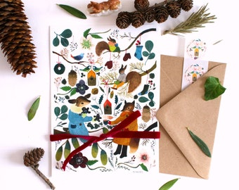 Letter paper set, letter writing set, with watercolour illustration of deer and fox, animals stationery, botanical letter set