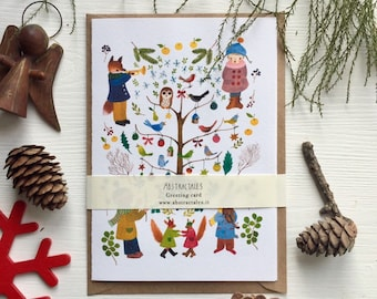 Holiday note card, Christmas card, woodland notecard, birds greeting card, birds christmas card