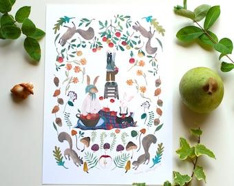 Water colour illustration print, art print, botanical illustration print, rabbits painting print, woodland illustration