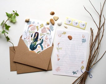 Letter paper set, letter writing set, with watercolour illustration, ocean mermaid stationery, fairytale stationery