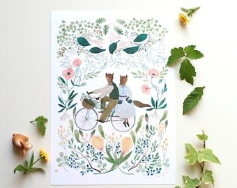 Water colour illustration print, art print, botanical illustration print, fox painting print, bicycle illustration