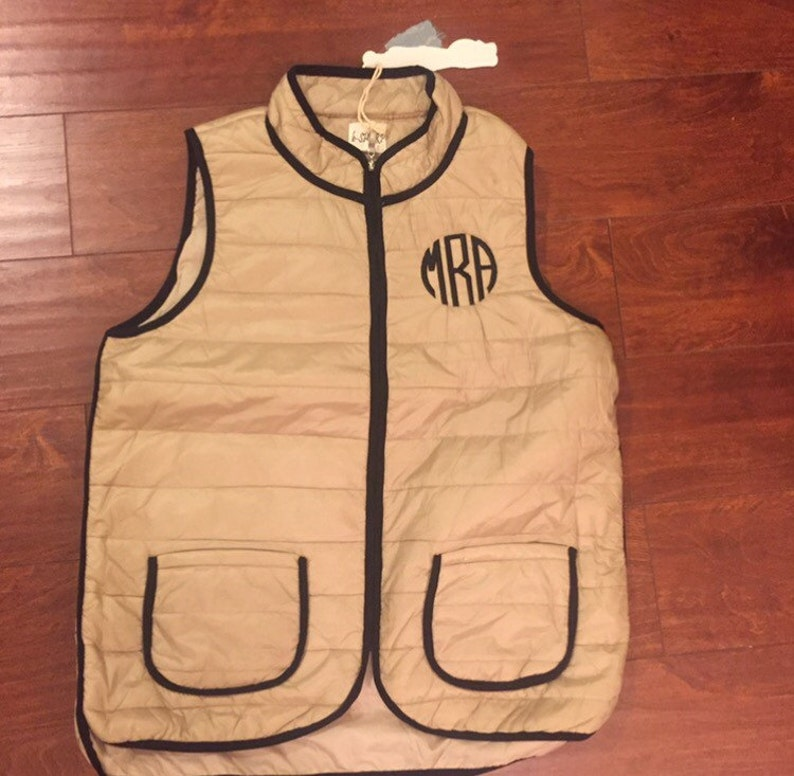 80e2601aa0b6 CUSTOM Taupe Gold Brown Monogrammed Puffy Vest