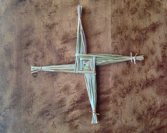 Sweetgrass Brigid's (Brigit's) Cross. Grown and made in NB, Canada, from organic, sustainably-sourced sweetgrass.