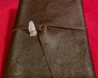 Leather Journal ~ approx. 9 x 12, 200 pages ~ refillable, hand stitched: writing, sketching, Book of Shadows, travel, guest book, grimoire
