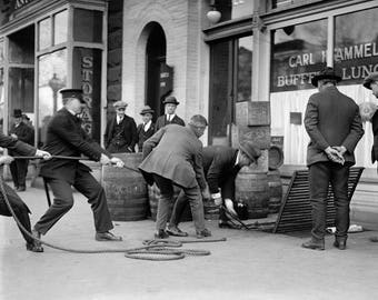 Police Seizing Bootleg Liquor, 1923. Vintage Photo Reproduction Poster Print. Black & White Photograph. Prohibition, Speakeasy, 1920s, 20s.